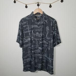 Quiksilver Grey Fishing Oar Button Up Shirt L